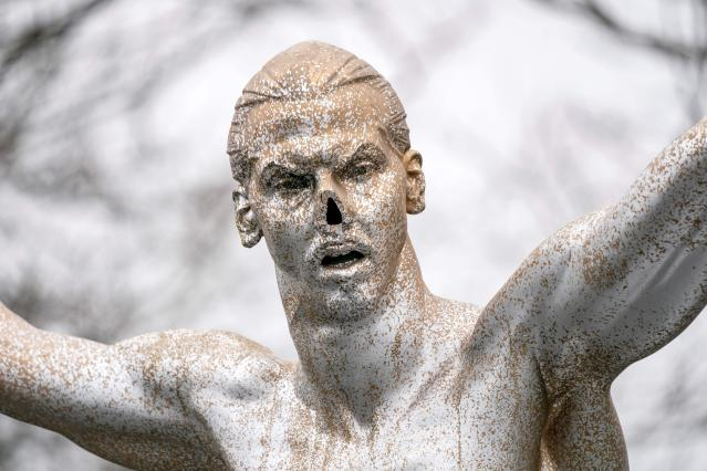The second time the statue of Zlatan Ibrahimovic was vandalized, it was spray painted silver and the nose was cut off. (Photo by JOHAN NILSSON/TT NEWS AGENCY/AFP via Getty Images)