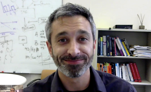Josh Ackerman, associate professor of psychology at the University of Michigan, Skyped in to explain his study.