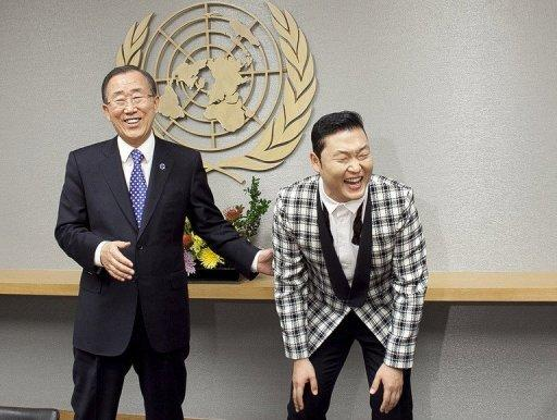 "South Korean singer Psy (R), real name Park Jae-Sang, visits UN Secretary-General Ban Ki-moon at the United Nations in New York. UN leader Ban admitted that he was no longer the world's most famous South Korean as he came face-to-face with ""Gangnam Style"" rap phenomenon Psy"
