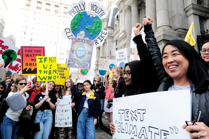 City Councilwoman Helen Gym, far right, rallies outside City Hall at the Climate Strike in Philadelphia on March 15. (Photo: NurPhoto via Getty Images)