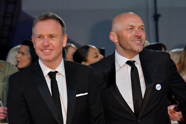 Tim Lovejoy and Simon Rimmer attending the National Television Awards 2017 at the O2, London. (Photo by Matt Crossick/PA Images via Getty Images)