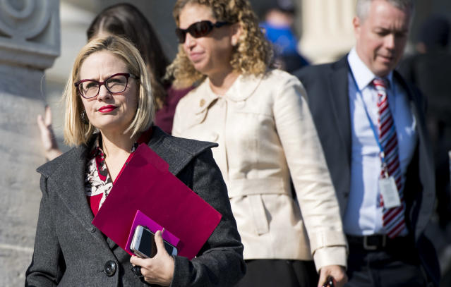 Rep. Kyrsten Sinema, D-Ariz., walks down the House steps following a vote in the Capitol on Dec. 1. (Photo: Bill Clark/CQ Roll Call via Getty Images)