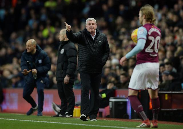 "Soccer Football - Championship - Aston Villa vs Preston North End - Villa Park, Birmingham, Britain - February 20, 2018 Aston Villa manager Steve Bruce gestures Action Images/Adam Holt EDITORIAL USE ONLY. No use with unauthorized audio, video, data, fixture lists, club/league logos or ""live"" services. Online in-match use limited to 75 images, no video emulation. No use in betting, games or single club/league/player publications. Please contact your account representative for further details."