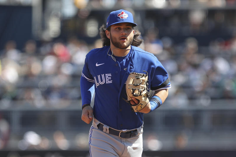 TAMPA, FL - FEBRUARY 22: Toronto Blue Jays shortstop Bo Bichette (11) during the MLB Spring Training game between the Toronto Blue Jays and New York Yankees on February 22, 2020 at George M. Steinbrenner Field in Tampa, FL. (Photo by Icon Sportswire)
