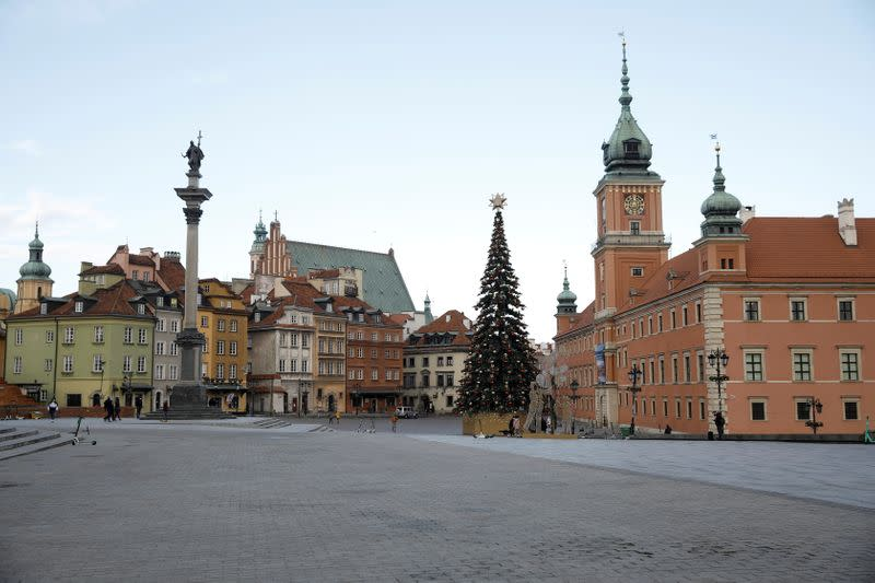 FILE PHOTO: A general view of Castle Square in the Old Town, amid the COVID-19 outbreak in Warsaw