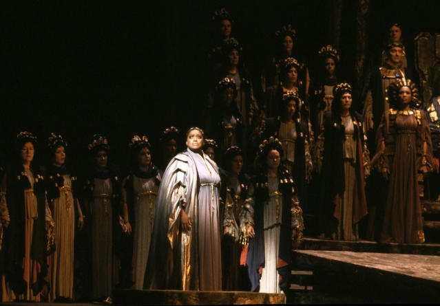 "This 1983 photo released by the Metropolitan Opera shows soprano Jessye Norman as Cassandre in Berlioz' ""Les Troyens,"" the role of her Metropolitan Opera debut in New York. Norman died, Monday, Sept. 30, 2019, at Mount Sinai St. Luke's Hospital in New York. She was 74. (Metropolitan Opera via AP)"