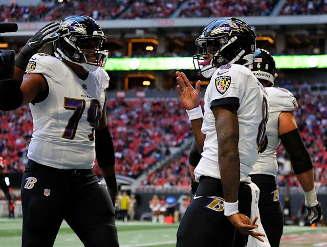 "Who's legs do you trust more in Week 14: <a class=""link rapid-noclick-resp"" href=""/nfl/players/31002/"" data-ylk=""slk:Lamar Jackson"">Lamar Jackson</a> or <a class=""link rapid-noclick-resp"" href=""/nfl/players/30977/"" data-ylk=""slk:Josh Allen"">Josh Allen</a>? (Photo by Kevin C. Cox/Getty Images)"