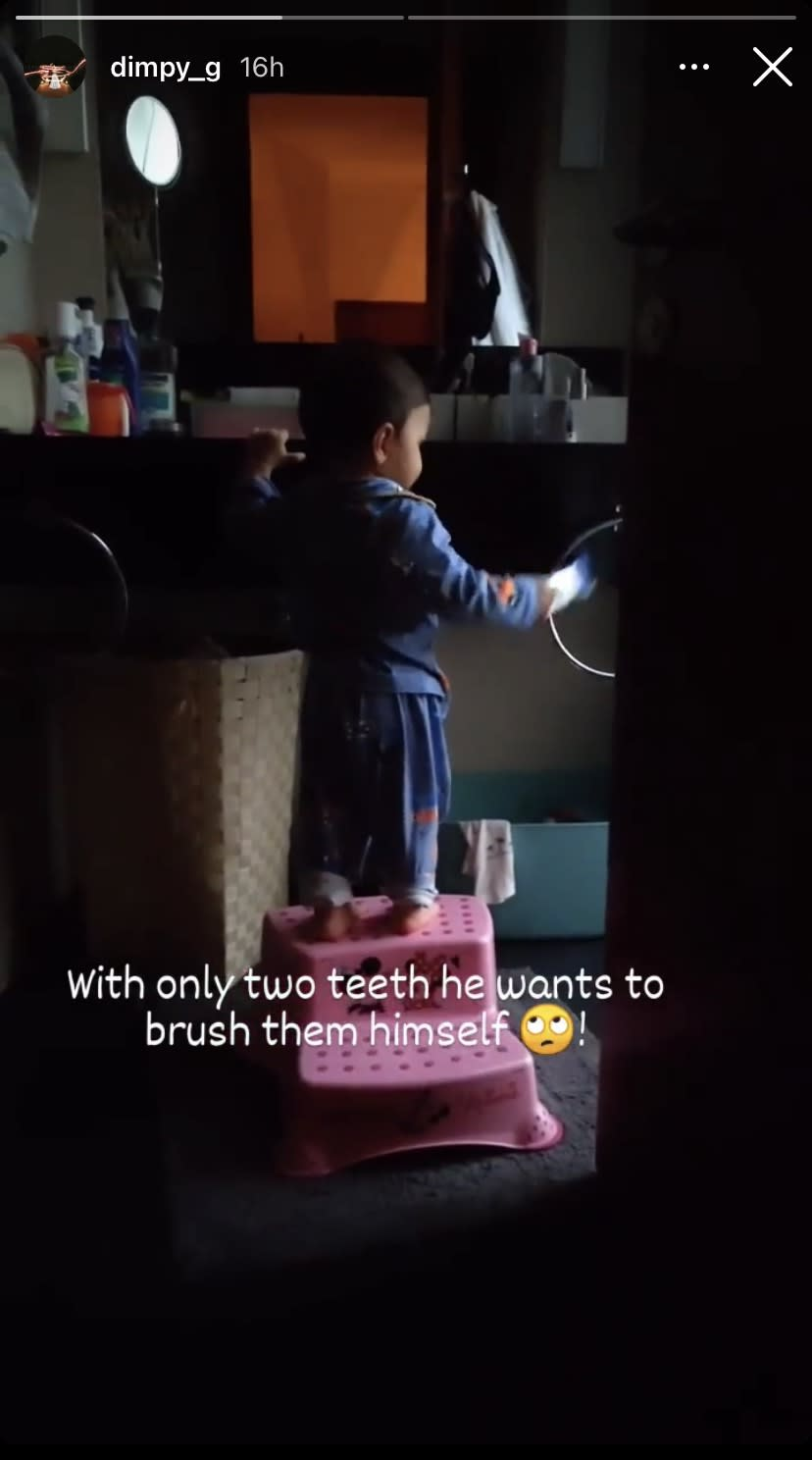 Dimpy Ganguly's Son Try To Brush His Two Teeth