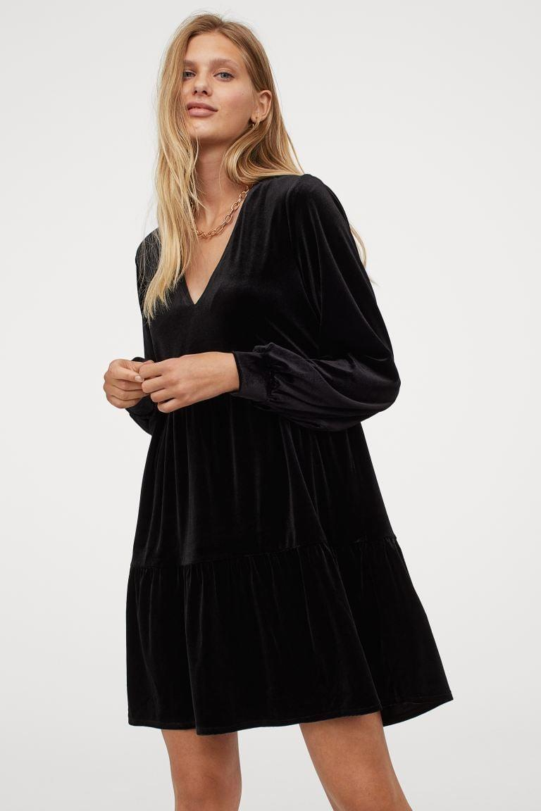 <p>This <span>V-neck Velour Dress</span> ($25) is a failsafe choice for any fancy outing.</p>