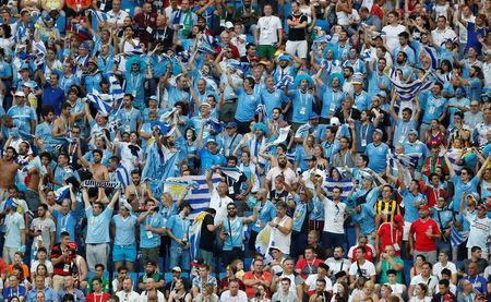 Soccer Football - World Cup - Group A - Uruguay vs Saudi Arabia - Rostov Arena, Rostov-on-Don, Russia - June 20, 2018 Uruguay fans during the match REUTERS/Carlos Garcia Rawlins