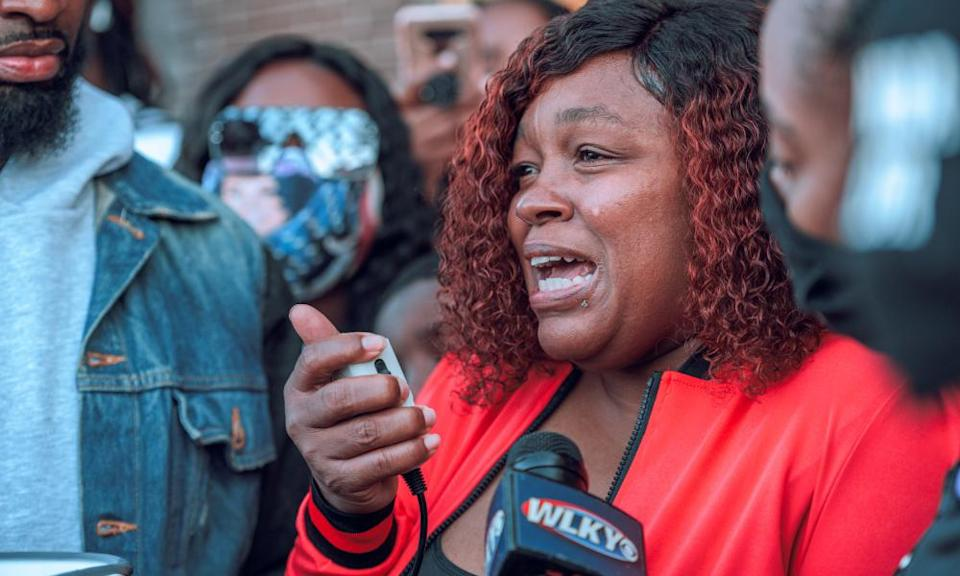 Tamika Palmer, mother of Breonna Taylor, speaks to a crowd of protesters during a Louisville rally last week.