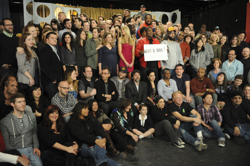 "30 ROCK -- ""Part 1: Hogcock! Part 2: Last Lunch"" Episode 712/713 -- Pictured: (l-r) Sue Galloway as Sue, John Lutz as Lutz, Katrina Bowden as Cerie, Kevin Brown as Dotcom, Tracy Morgan as Tracy Jordan, Grizz Chapman as Grizz, Judah Friedlander as Frank, Keith Powell as Toofer"