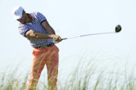 Cameron Tringale hits his tee shot on the ninth tee during the first round of the PGA Championship golf tournament on the Ocean Course Thursday, May 20, 2021, in Kiawah Island, S.C. (AP Photo/David J. Phillip)