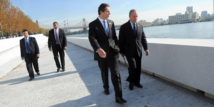 Cuomo and Bloomberg are teaming up to ramp up coronavirus testing and contact tracing, pictured here at the FDR Park dedication in 2012.