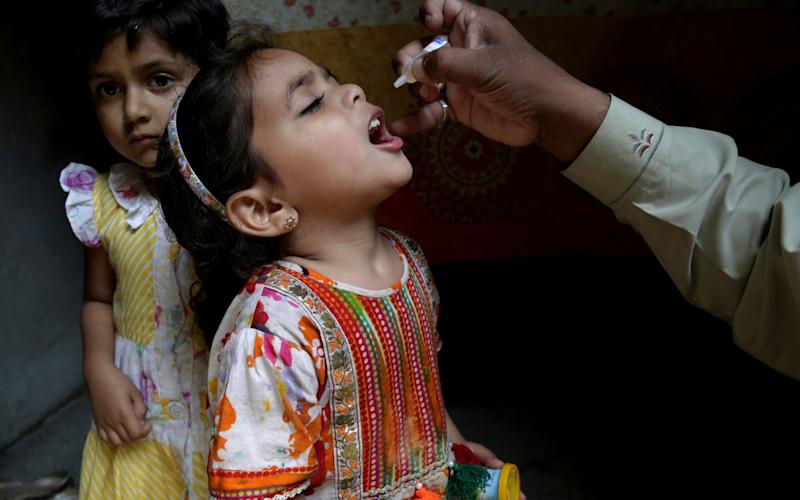 A girl in Pakistan receives the oral polio vaccine. New injectable vaccines do not lead to disease outbreaks - AP