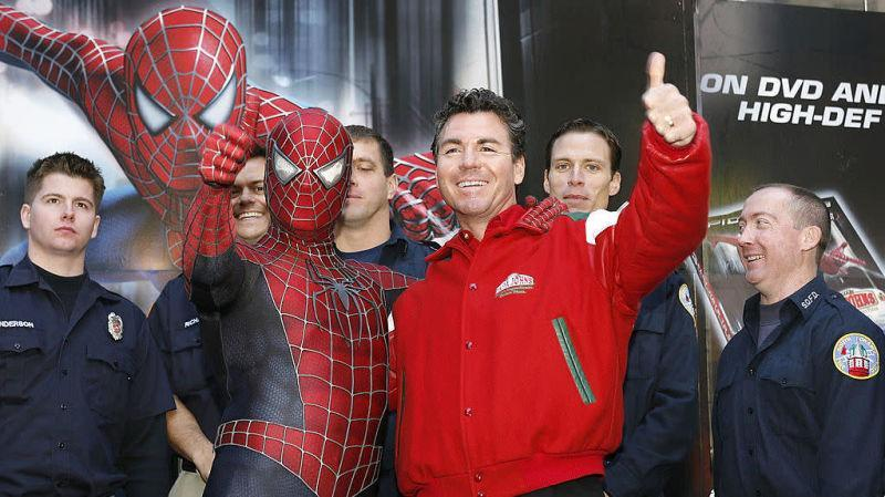 John Schnatter, then still the Papa, posing with Spider-Man in Times Square in 2007