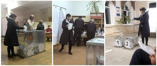 <p>A combination picture shows a voter, casting a ballot at polling station number 216 (L), walking before casting a ballot at a polling station 217 (C) and casting a ballot at a polling station number 215, during the presidential election in Ust-Djeguta, Russia March 18, 2018. The voter denied voting multiple times to a Reuters reporter and said it was a case of mistaken identity because seven people at her work have the same coat. (Reuters staff) </p>