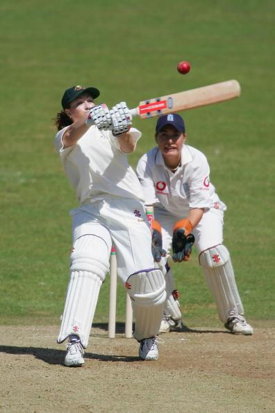 HOVE, ENGLAND - AUGUST 9:  Karen Rolton of Australia hits out during the 1st Test Match between England women and Australia women at Sussex County cricket ground on August 9, 2005 in Hove, England.  (Photo by Clive Rose/Getty Images)