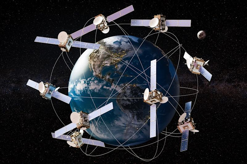 Multiple satellites orbiting Earth.