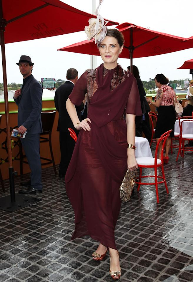 MELBOURNE, AUSTRALIA - NOVEMBER 06:  Mischa Barton poses at the Emirates marquee at the Melbourne Cup at Flemington Racecourse on November 6, 2012 in Melbourne, Australia.  (Photo by Don Arnold/WireImage)