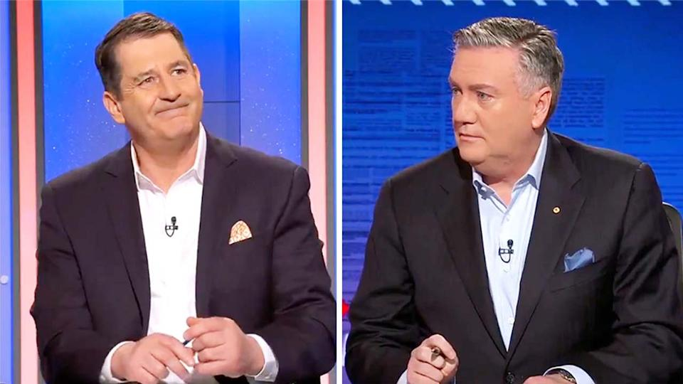 Former Fremantle coach Ross Lyon (pictured left) interviewed by Eddie McGuire (pictured right).