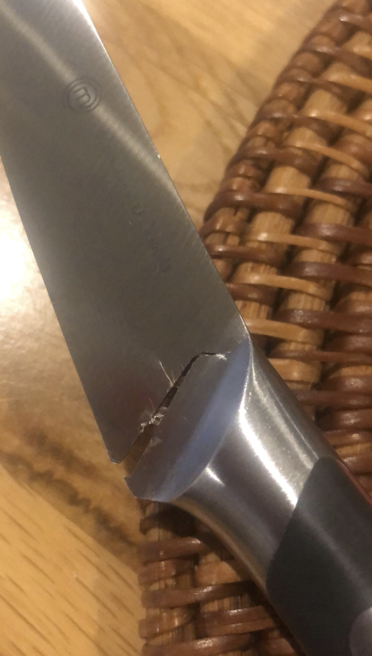 A knife almost completely split. Source: Twitter