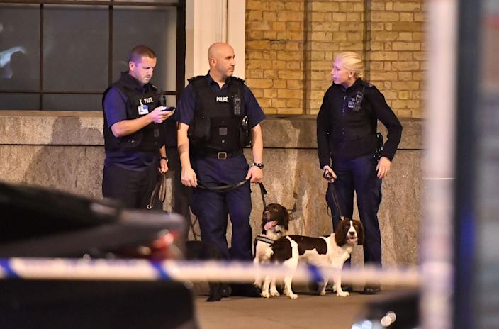 """<p>Police sniffer dogs on London Bridge as police are dealing with a """"major incident"""" at London Bridge. (Dominic Lipinski/PA Images via Getty Images) </p>"""
