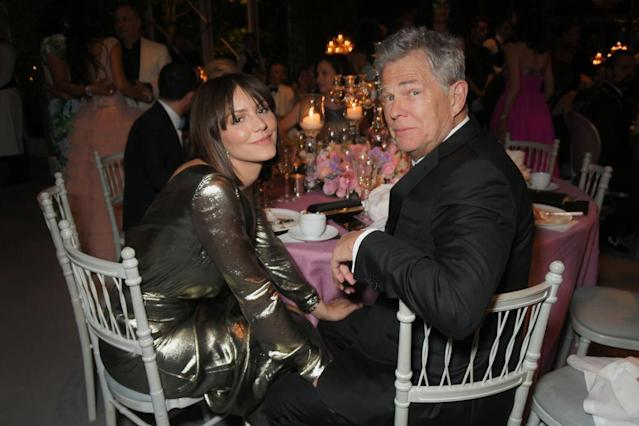 Katharine McPhee and David Foster sit together at a charity fete on June 27. (Photo: David M. Benett/Dave Benett/Getty Images for  Bulgari and the Elton John AIDS Foundation)