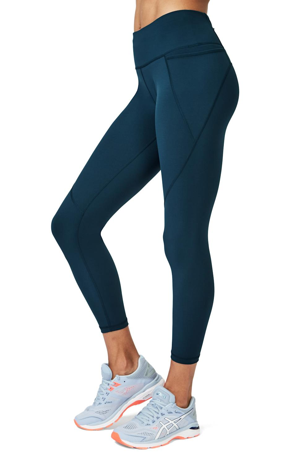 """<h3>Sweaty Betty Power Workout Leggings </h3><br><br>Crafted from super-stretchy and sculpting material with a triple-pocket design, these top-rated leggings have secure storage during intense activities covered. As one rave reviewer attests, """"Perfect pocket pants! I am LOVING the new style Powers with the side pocket. Makes carrying phone in the gym so much more convenient. Plus I am a huge fan of the beetle blue color! #teamsweatybetty""""<br><br><strong>Sweaty Betty</strong> Power 7/8 Workout Leggings, $, available at <a href=""""https://go.skimresources.com/?id=30283X879131&url=https%3A%2F%2Fwww.sweatybetty.com%2Fus%2Fshop%2Fnew-arrivals%2Fpower-7-8-workout-leggings-SB540078_GreyElephantCamoPrint.html"""" rel=""""nofollow noopener"""" target=""""_blank"""" data-ylk=""""slk:Sweaty Betty"""" class=""""link rapid-noclick-resp"""">Sweaty Betty</a>"""