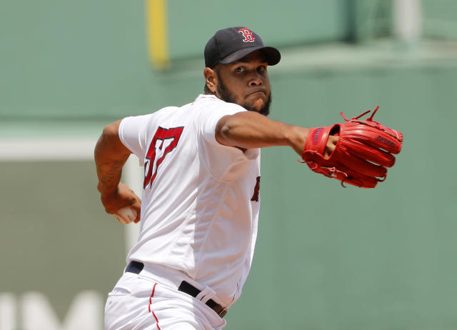 Boston Red Sox starting pitcher Eduardo Rodriguez delivers against the Toronto Blue Jays during the first inning of a baseball game Saturday, July 14, 2018, in Boston. (AP Photo/Winslow Townson)