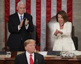 "<p>Pelosi and Mike Pence sit behind President Trump as he delivers the State of the Union address on February 5, 2019. The Speaker of the House joined other Democratic Congresswomen in wearing white to the address, in the hopes of <a href=""https://www.elle.com/culture/career-politics/a26087202/president-trump-state-of-the-union-congresswomen-wear-white/"" rel=""nofollow noopener"" target=""_blank"" data-ylk=""slk:sending a message of"" class=""link rapid-noclick-resp"">sending a message of</a> ""solidarity with women across the country.""</p>"