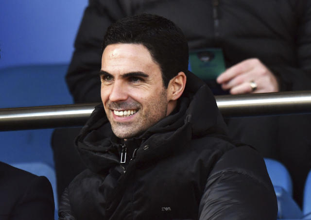 Arsenal's new manager Mikel Arteta watches in the stands during the English Premier League soccer match between Everton and Arsenal at Goodison Park, Liverpool, England, Saturday, Dec. 21, 2019. (Anthony Devlin/PA via AP)
