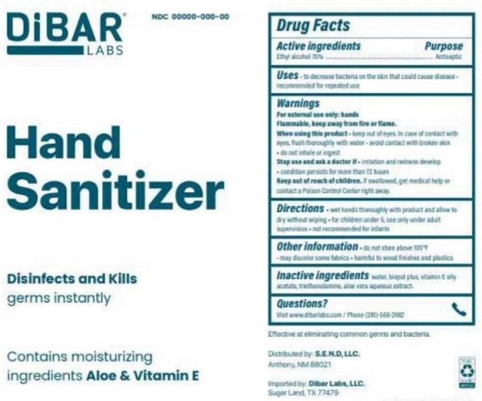 DiBar Hand Sanitizer Label. The product was recalled nationally on May 11, 2021, due to methanol.