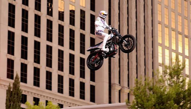 For one night, Las Vegas saw the legend of Evel Knievel again. (Getty Images)