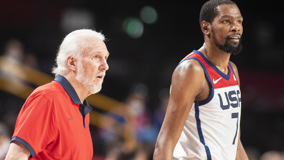Gregg Popovich couldn't help but take a shot at Team USA's critics after winning basketball gold at the Tokyo Olympics. (Photo by Tim Clayton/Corbis via Getty Images)