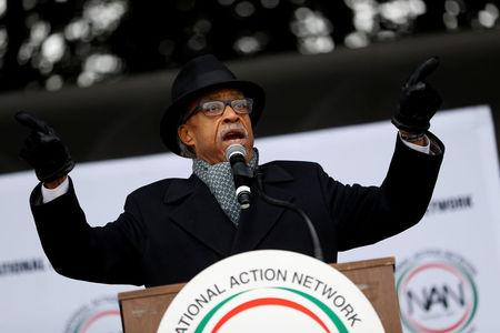 """Rev. Al Sharpton speaks during the National Action Network's """"We Shall Not Be Moved"""" march in Washington, DC, U.S., January 14, 2017. REUTERS/Aaron P. Bernstein"""