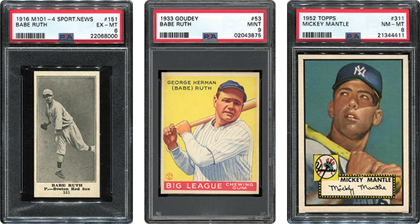 Newman left his family with several valuable cards, including a 1953 Babe Ruth and a 1952 Mickey Mantle. / Credit: Memory Lane Auctions