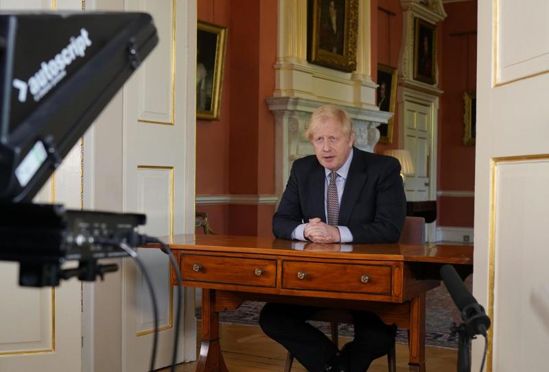 LONDON, ENGLAND - In this handout image provided by No 10 Downing Street, Britain's Prime Minister Boris Johnson records a televised message to the nation released on May 10, 2020 in London, England. The Prime Minister announced the next stage in easing lockdown measures intended to curb the spread of Covid-19. (Photo by No 10 Downing Street via Getty Images)