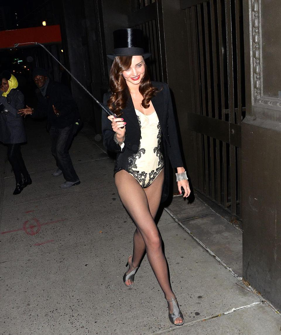 <p>Model Miranda Kerr served a leggy look for her 2011 Halloween Party in New York City.</p>
