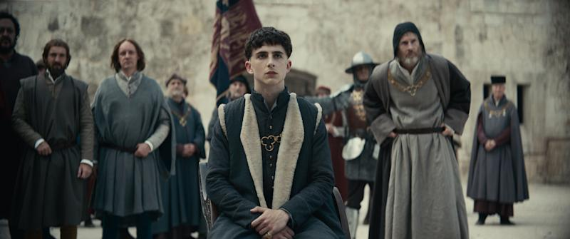 A photo of Timotheé Chalamet in costume in a scene from The King.