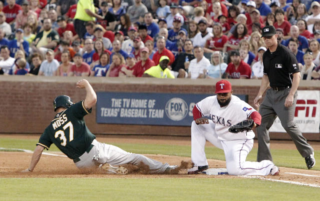 Oakland Athletics Brandon Moss (37) is forced out by Texas Rangers first baseman Prince Fielder (84) on a throw from home during the third inning of a baseball game, Monday, April 28, 2014, in Arlington, Texas. Moss was initially ruled safe on the play, but after a video review was ruled out. (AP Photo/Brandon Wade)