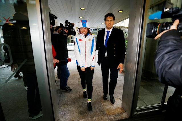 Russian speed skating athlete Olga Fatkulina arrives at the Court of Arbitration for Sport (CAS) for the hearings of the cases of 39 of the 42 Russian athletes who have challenged the decisions taken by the Disciplinary Commission of the International Olympic Committee (IOC DC) in relation to the 2014 Sochi Winter Olympic Games, in Geneva, Switzerland, January 22, 2018. REUTERS/Pierre Albouy