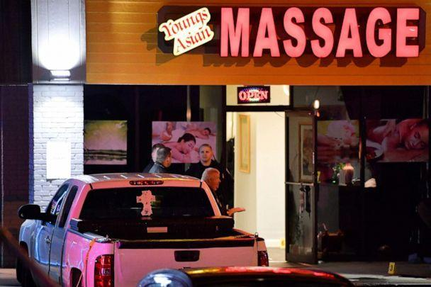 PHOTO: Authorities investigate a fatal shooting at a spa, March 16, 2021, in Acworth, Ga. (Mike Stewart/AP)