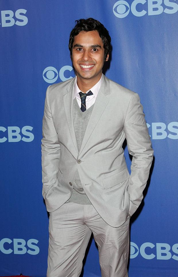 "<a href=""/kunal-nayyar/contributor/2251943"">Kunal Nayyar</a> (""<a href=""/big-bang-theory/show/39758"">Big Bang Theory</a>"") attends the 2010 CBS Upfront at The Tent at Lincoln Center on May 19, 2010 in New York City."