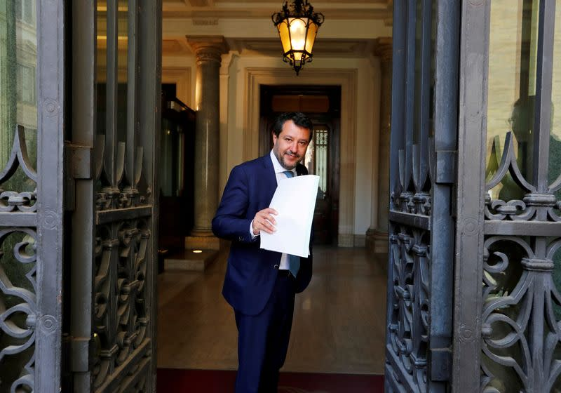 Leader of Italy's far-right League party Matteo Salvini arrives to address the upper house of parliament, in Rome