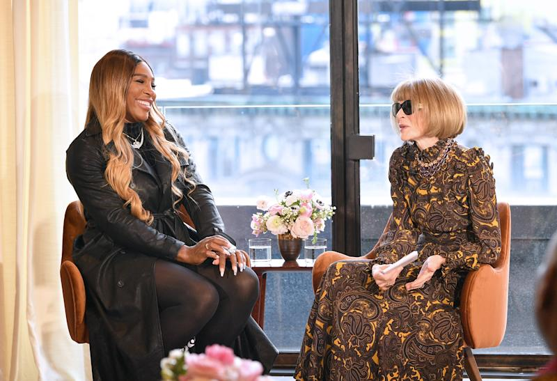Serena Williams speaks with Anna Wintour at the S By Serena Presentation during New York Fashion Week. (Credit: Getty Images)