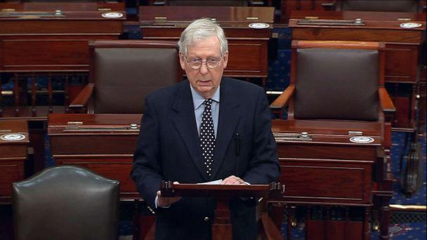 PHOTO: Senate Majority Leader Mitch McConnell speaks on the floor of the U.S. Senate, in an image made from video, Dec. 29, 2020, in Washington.  (Senate Television)