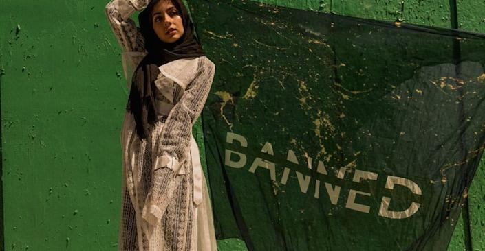 """<span class=""""caption"""">Banned headscarf by Céline Semaan.</span> <span class=""""attribution""""><a class=""""link rapid-noclick-resp"""" href=""""https://deyoung.famsf.org/exhibitions/contemporary-muslim-fashions"""" rel=""""nofollow noopener"""" target=""""_blank"""" data-ylk=""""slk:Contemporary Muslim Fashions 22 September 2018 - 6 January 2019 de Young Museum"""">Contemporary Muslim Fashions 22 September 2018 - 6 January 2019 de Young Museum</a></span>"""