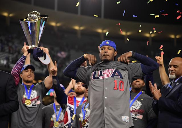 Adam Jones was the unofficial captain of Team USA in the World Baseball Classic. (Getty Images)