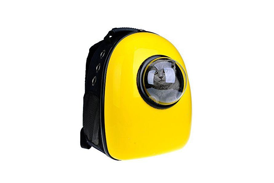 "<p>This well-ventilated space-age backpack keeps a cat or small dog (up to 16 pounds) comfy and safe. You can swap out the acrylic window for a mesh-front panel (included).<br /> <br /> <strong>To buy:</strong> U-Pet Bubble Pet Carrier, $158; <a rel=""nofollow"" href=""https://www.amazon.com/Innovative-Patent-Bubble-Carriers-Upet/dp/B01M7TTRPT/ref=sr_1_5?ie=UTF8&qid=1487700881&sr=8-5&keywords=u-pet+bubble+pet+carriers"">amazon.com</a>.</p>"